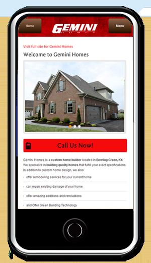 Gemini Homes Mobile WebSite Design